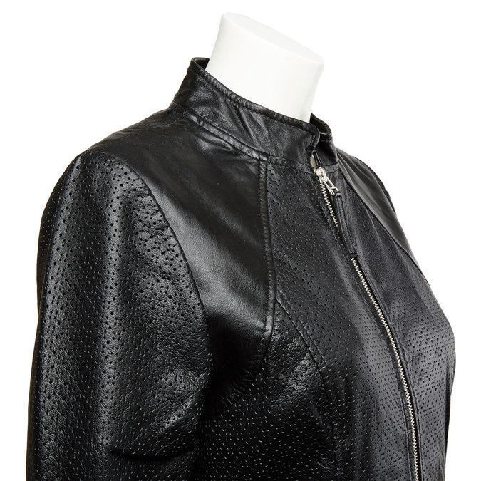 Dámská kožená bunda s perforací bata, černá, 974-6153 - 16