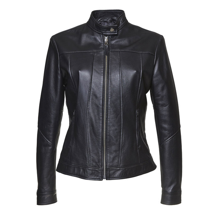 Dámská kožená bunda bata, černá, 974-6146 - 13