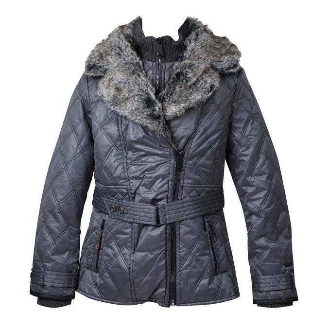 Dámská zimní bunda s kožešinovým límcem khujo, hnědá, 979-4001 - 13