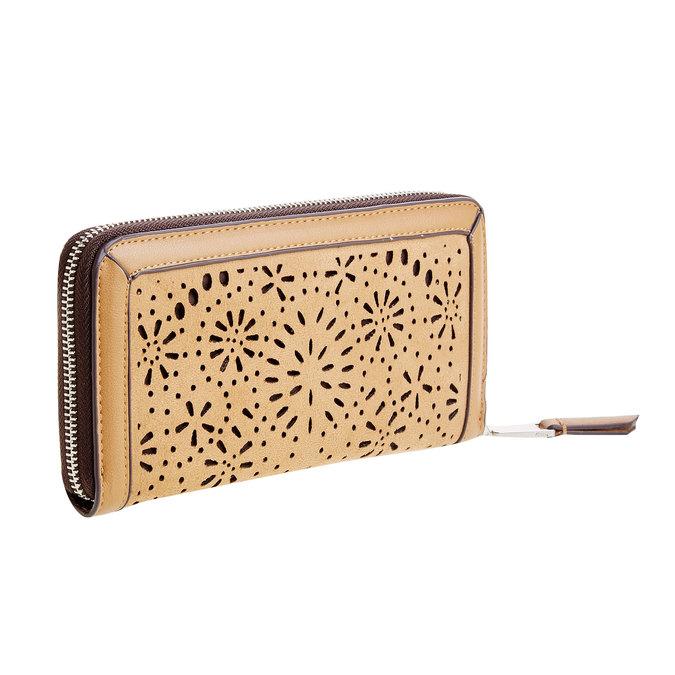 Dámská peněženka s perforací bata, hnědá, 941-3131 - 13