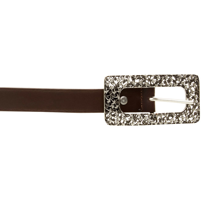 Kožený opasek s výraznou sponou bata, hnědá, 954-4231 - 26