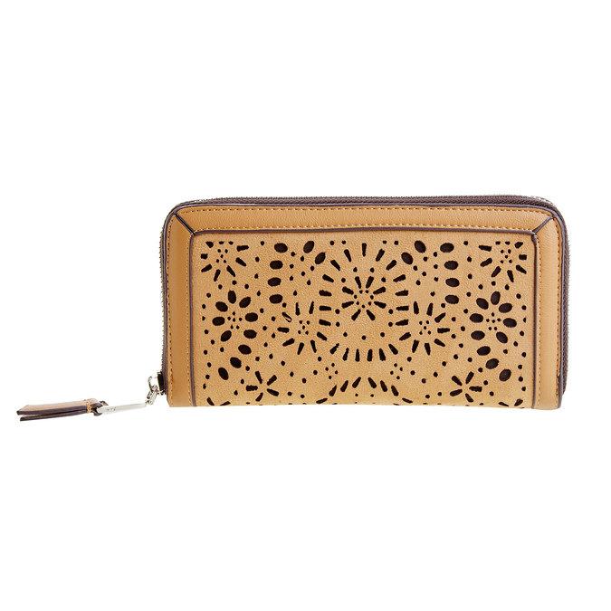 Dámská peněženka s perforací bata, hnědá, 941-3131 - 26