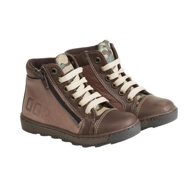 Kožené chlapecké kotníkové boty mini-b, hnědá, 114-4135 - 26