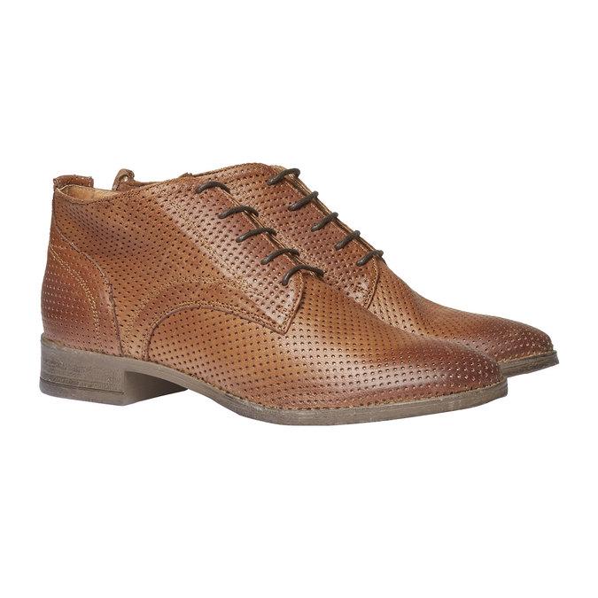 Dámské kožené kotníčkové boty bata, hnědá, 524-3468 - 26