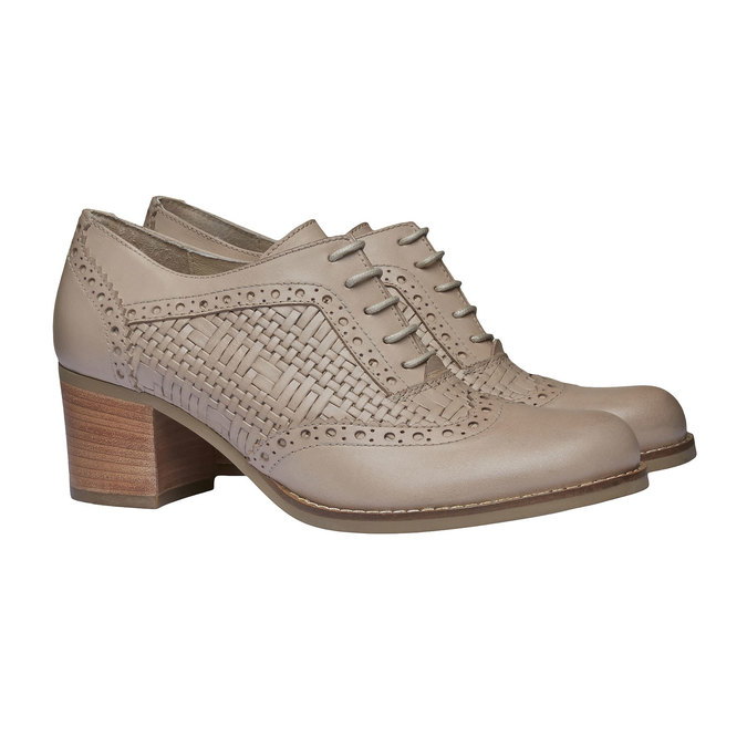 Kožené polobotky na podpatku bata, béžová, 624-8386 - 26