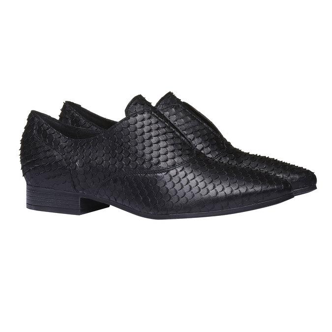 Dámské kožené polobotky bata, černá, 514-6212 - 26