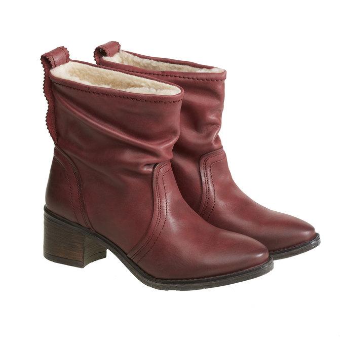 Kožená kotníčková obuv bata, červená, 696-5108 - 26