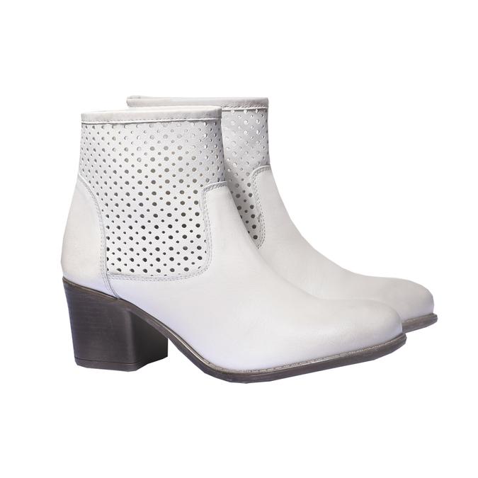 Jarní obuv s jemnou perforací bata, bílá, 694-1136 - 26