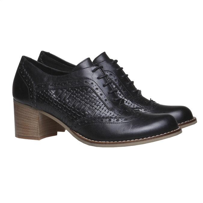 Kožené polobotky na podpatku bata, černá, 624-6386 - 26