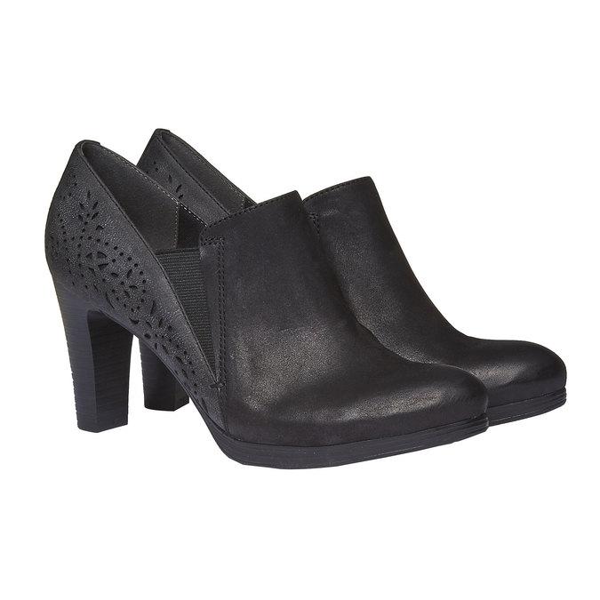 Kožené polobotky na podpatku bata, černá, 724-6949 - 26
