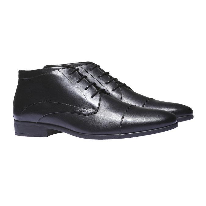 Kožené kotníčkové boty se zateplením bata, černá, 894-6436 - 26