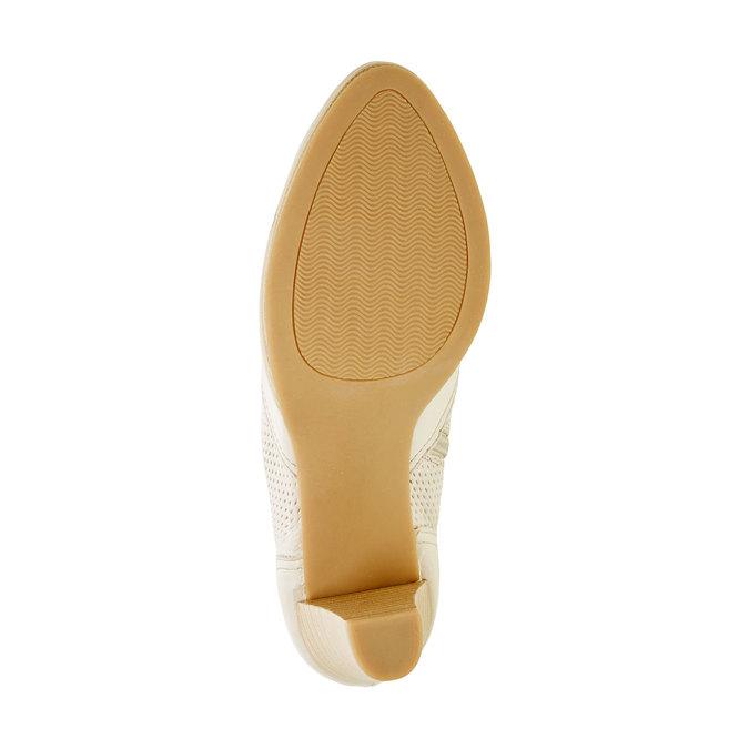 Kožené polobotky na podpatku bata, bílá, 724-8932 - 26