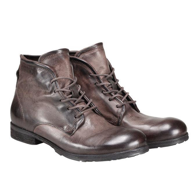 Kožená kotníčková obuv a-s-98, hnědá, 896-4007 - 26