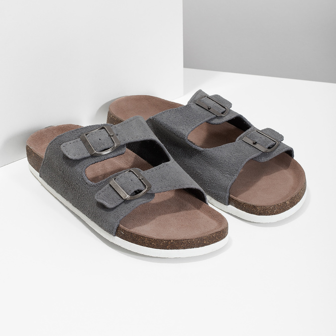 Pánská domácí obuv de-fonseca, šedá, 873-2610 - 26