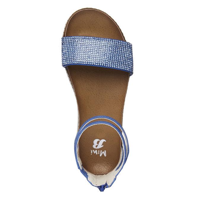 Dívčí sandály s kamínky mini-b, modrá, 361-9161 - 19