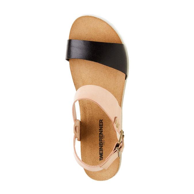 Dámské kožené sandály na bílé podešvi weinbrenner, hnědá, 564-6522 - 19
