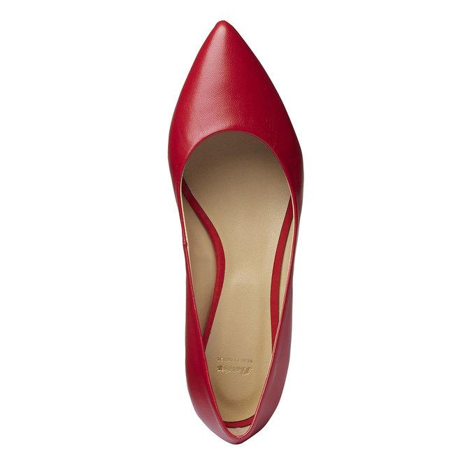 Dámské kožené baleríny do špičky bata, červená, 524-5493 - 19