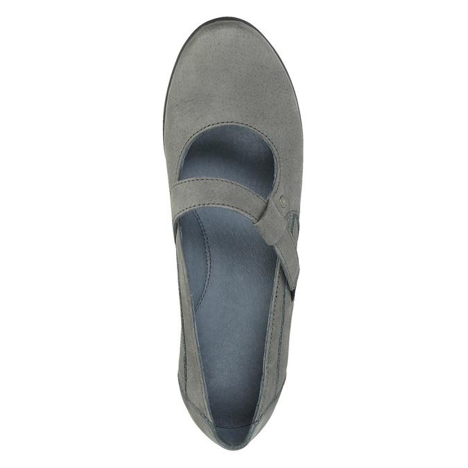Kožené baleríny s páskem přes nárt bata, šedá, 524-2497 - 19