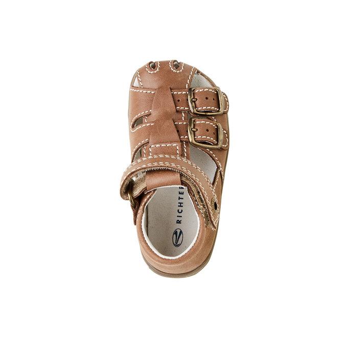 Dětské kožené sandály richter, hnědá, 164-4001 - 19