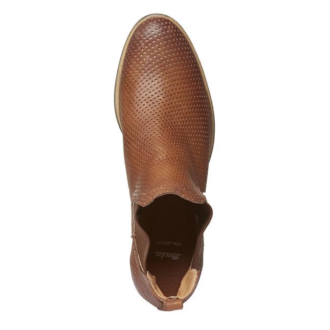Kožené kotníčkové kozačky v Chelsea stylu bata, hnědá, 594-3546 - 19