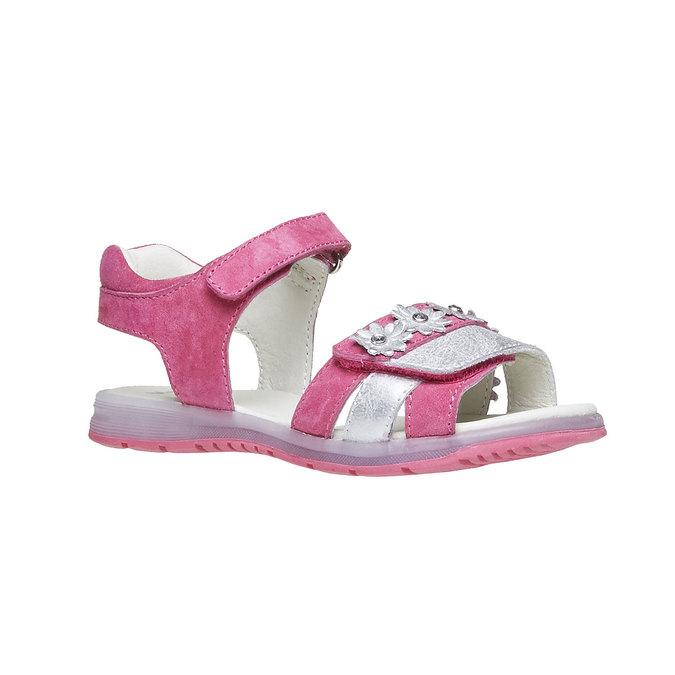 Kožené sandály s kytičkami mini-b, růžová, 263-5163 - 13
