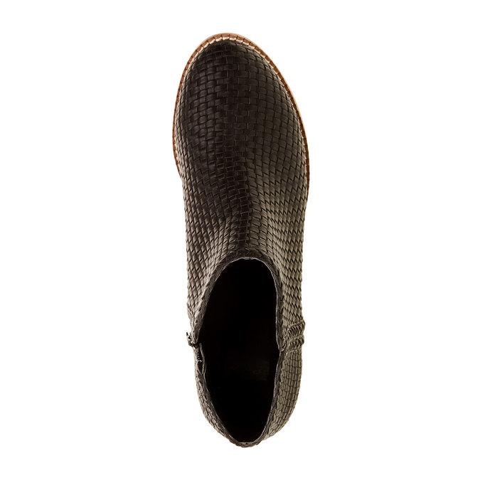 Kotníčkové kozačky s pleteným vzorem bata, černá, 691-6273 - 19