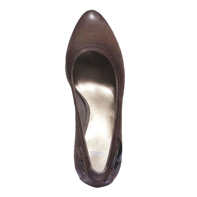 Kožené lodičky na vysokém podpatku bata, hnědá, 626-4100 - 19