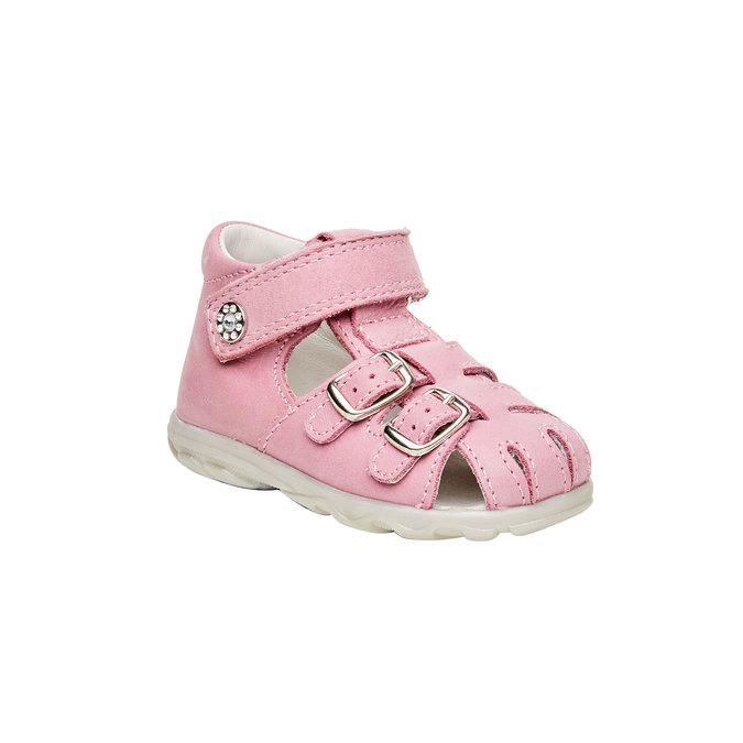 Dětské kožené sandály richter, růžová, 164-5003 - 13