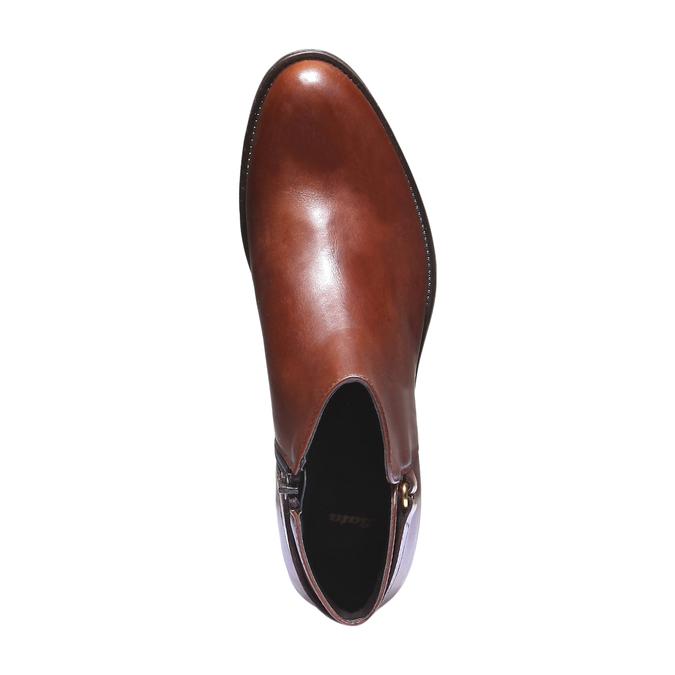 Kožené kotníkové boty s páskem bata, hnědá, 694-3159 - 19