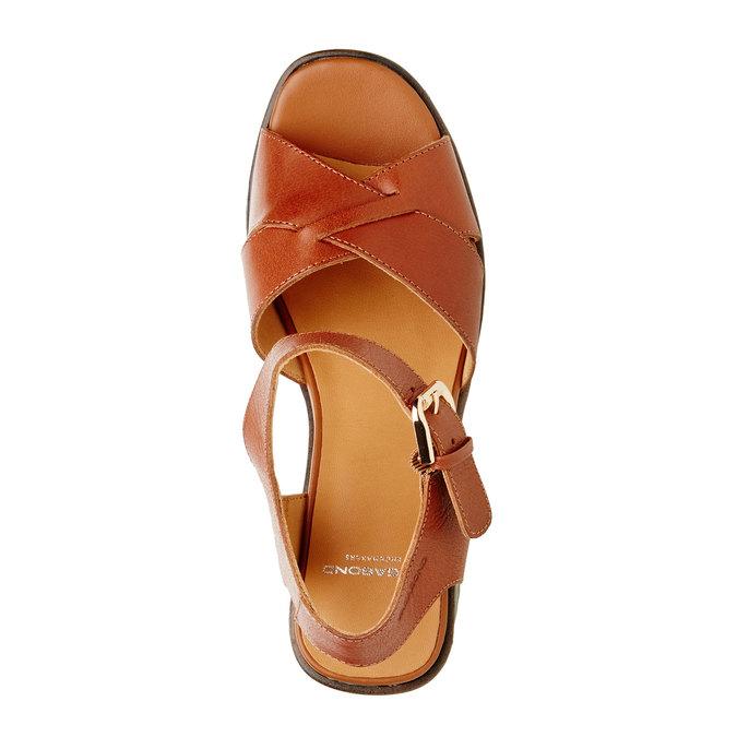 Kožené sandály na masivním podpatku vagabond, hnědá, 764-3003 - 19