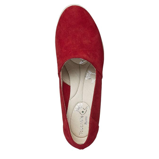Kožené lodičky na klínovém podpatku bata-touch-me, červená, 613-5110 - 19