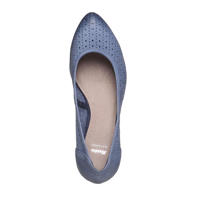 Kožené lodičky na klínku bata, modrá, 624-9385 - 19