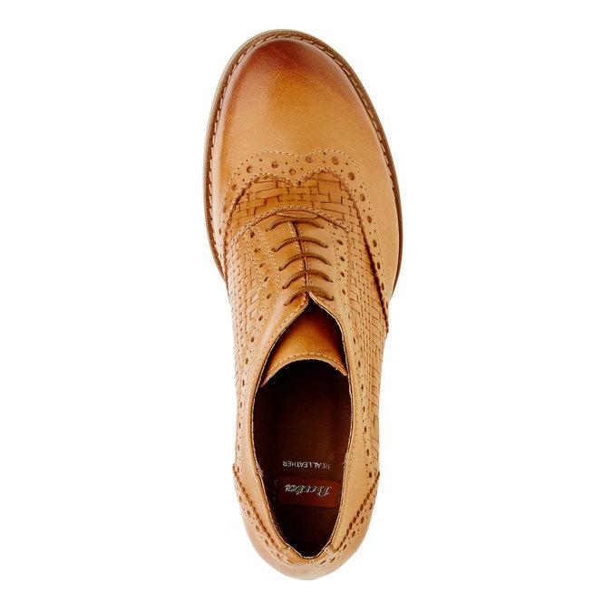 Kožené polobotky na podpatku bata, hnědá, 624-3386 - 19