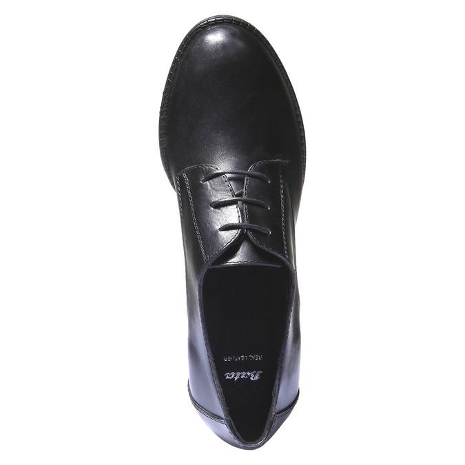 Dámské kožené polobotky na podpatku bata, černá, 724-6788 - 19