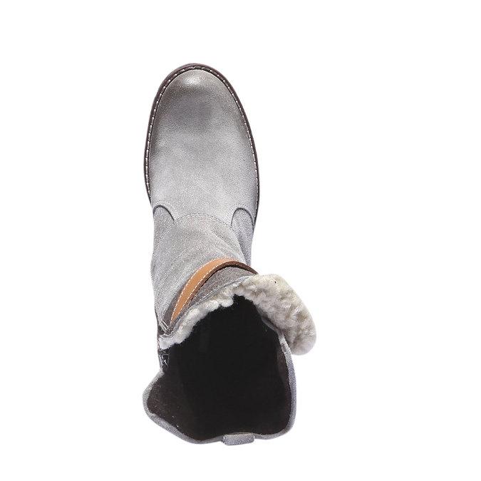 Kožené kozačky s páskem bata, šedá, 693-2143 - 19