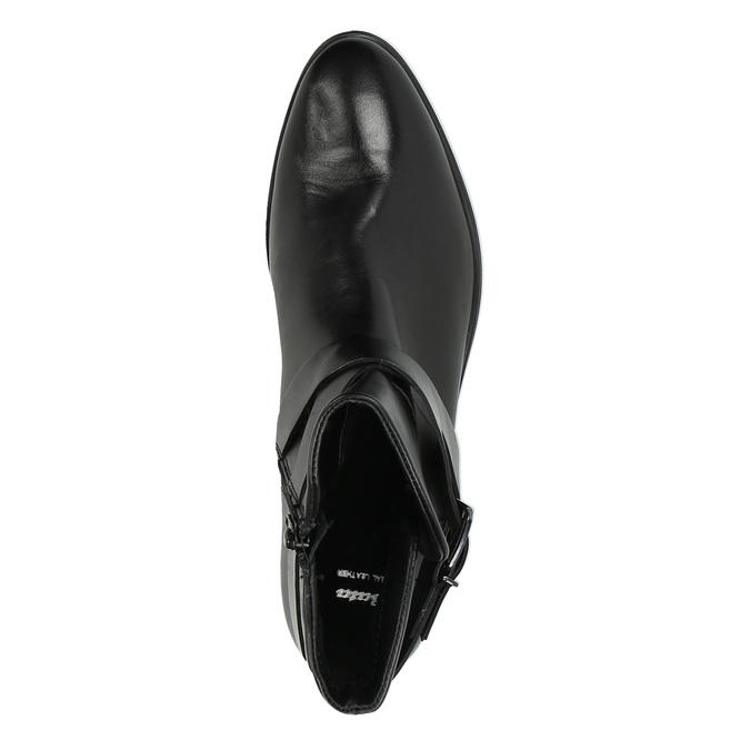 Kožená kotníčková obuv s přezkou bata, černá, 594-6602 - 19