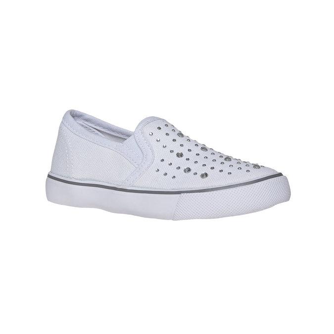 Dívčí Slip on boty s kamínky mini-b, bílá, 229-1148 - 13