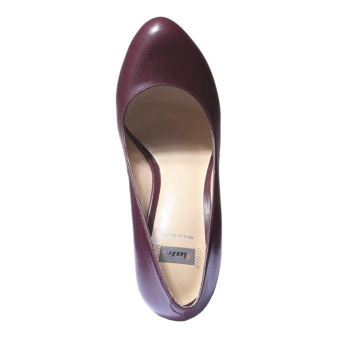 Kožené lodičky na vysokém podpatku bata, fialová, 724-5794 - 19