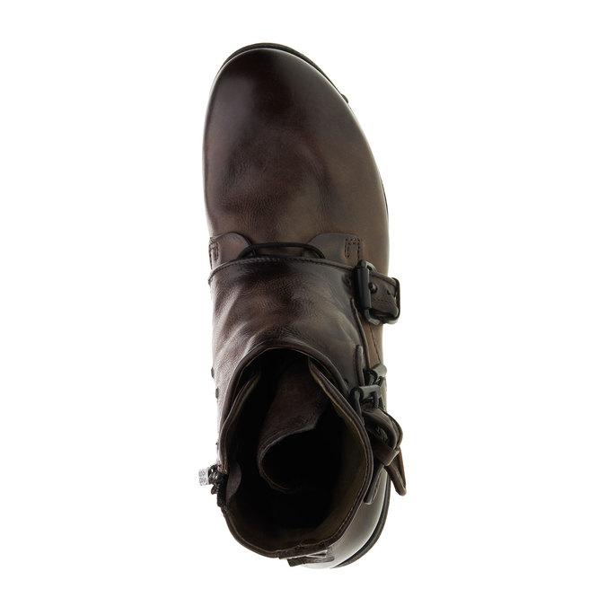 Kožená kotníčková obuv a-s-98, hnědá, 896-4009 - 19