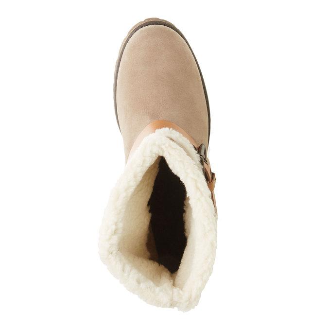 Kožená kotníčková obuv s kožíškem weinbrenner, šedá, 696-2169 - 19