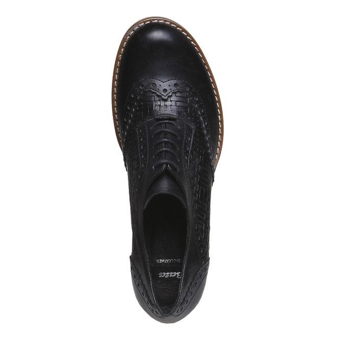 Kožené polobotky na podpatku bata, černá, 624-6386 - 19