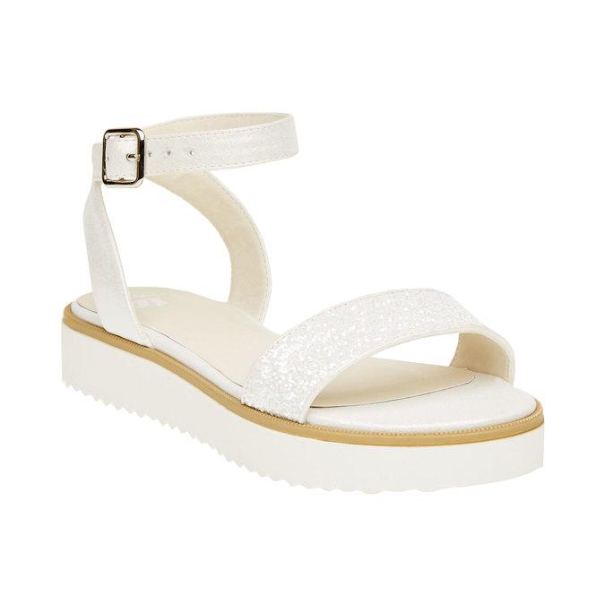 Sandály na flatformě se třpytkami mini-b, bílá, 361-1165 - 13