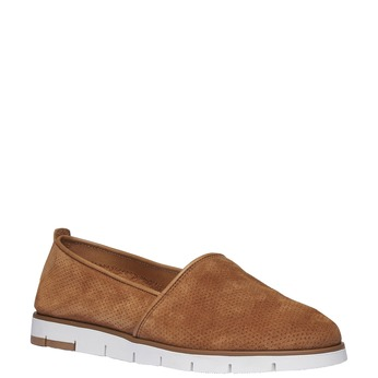 Kožené Slip-on boty s perforací flexible, hnědá, 513-3200 - 13