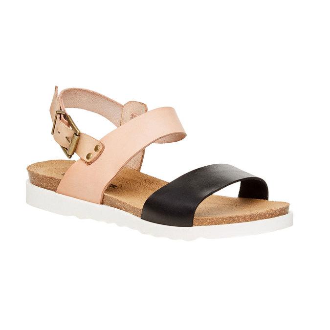 Dámské kožené sandály na bílé podešvi weinbrenner, hnědá, 564-6522 - 13