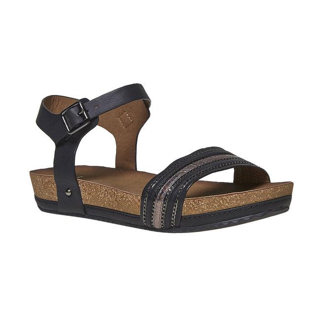 Dámské sandály na výrazné podešvi bata, černá, 561-6404 - 13