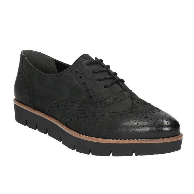Dámské kožené polobotky bata, černá, 526-6600 - 13
