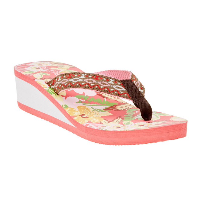 Dámské žabky na klínovém podpatku pata-pata, růžová, 581-5602 - 13