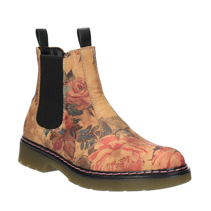 Kožené Chelsea Boots s květinovým vzorem bata, hnědá, 596-3620 - 13