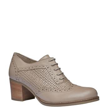 Kožené polobotky na podpatku bata, béžová, 624-8386 - 13