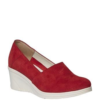Kožené lodičky na klínovém podpatku bata-touch-me, červená, 613-5110 - 13